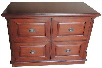 Filing Cabinet Solid Mahogany 4  Drawers CUP Handles H80 x W110 x D40 cms