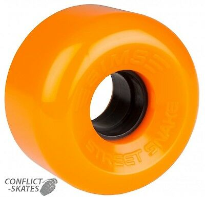 "SIMS ""Street Snake"" Rollerskate Wheels x8 ORANGE fit Bauer Roller Derby Outdoor"