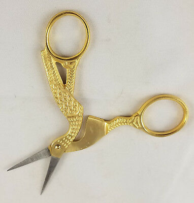 "Antique Style Gold Plated Stork Bird Shaped Szco Sewing Scissors 4"" Long Pouch"