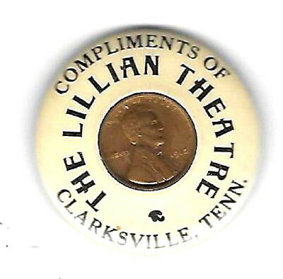Encased Penny Celluloid Pocket Mirror Lillian Theatre Clarksville Tenn Rare
