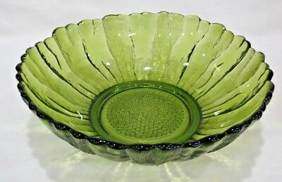 Vitg Green Glass Salad Bowl Sunflower 1970's Anchor Hocking Country Garden