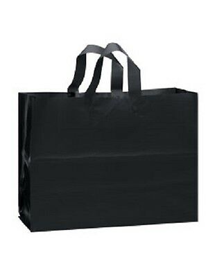 """Frosty Plastic Bags Shopping Black Frosted 16"""" x 6 x 12"""" 100 Gift Merchandise"""