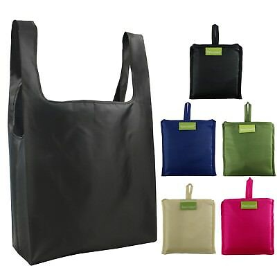 Reusable Bags Set of 5, Grocery Tote Foldable into Attached Pouch, Ripstop Polye