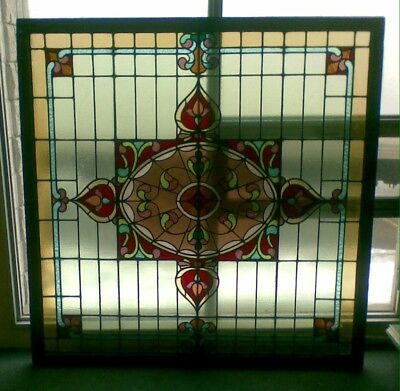 Antique Stained Glass Skylight Window Art Nouveau / Deco Chinese Lucky 8