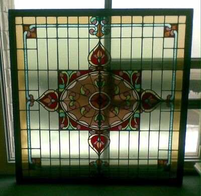 Large Antique Stained Art Glass Skylight Window Art Nouveau / Deco Lucky 8