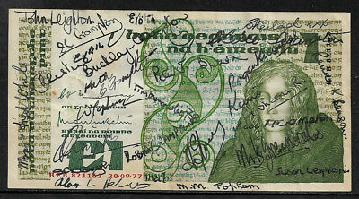Ireland 1 Pound Banknote 1977 Good Condition Except Several People Have Signed