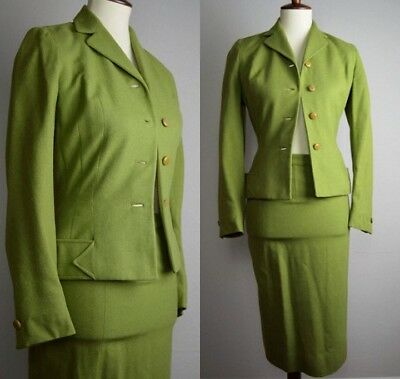 Vintage 1940's Green Wool Suit by Jaunty Juniors