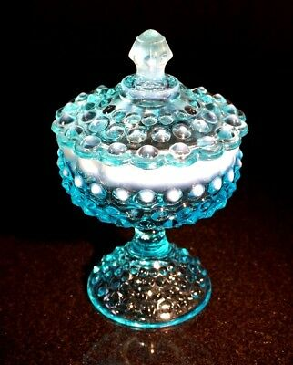 Beautiful Fenton Blue Glass Hobnail Opalescent Candy Dish Covered Comport