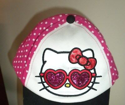 Hello Kitty Cap Hat Pink Polka Dot W Heart Shaped Glitter Glasses & Bow  New