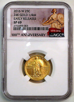 2016 W Gold Standing Liberty Quarter Ngc Sp69 Early Release W/ Ogp