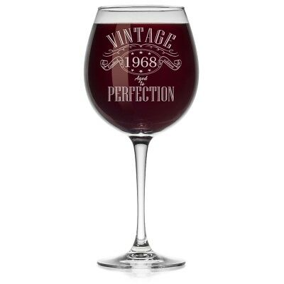 (Large Stemmed, 590ml) - Wine Glass 1968 Vintage Perfection 50th Birthday