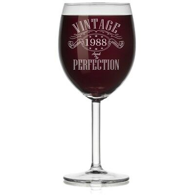 (Stemmed, 300ml) - Wine Glass 1988 Vintage Perfection 30th Birthday Limited