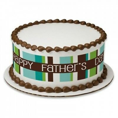 Happy Father's Day Birthday Peel & STick Edible Cake Topper Decoration for