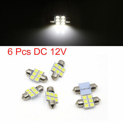 6pcs White 31mm 5050 SMD 6 LED Car Lights Festoon Interior Dome Map Lamp Bulb