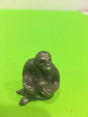 Vintage Pewter Gorilla Ape Monkey Figurine By Spoon 1.25'' tall