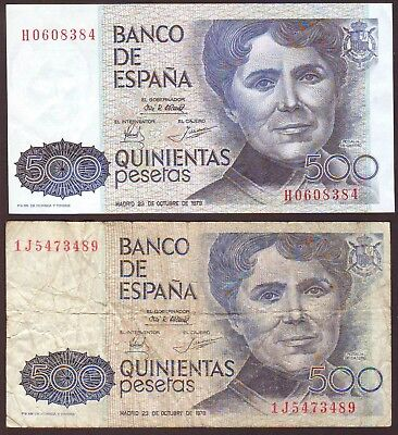Spain  500 Pesetas 1979   two notes