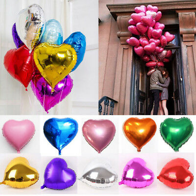 Foil Balloon Heart Shape Birthday Wedding Party Anniversary Helium Decor 10color