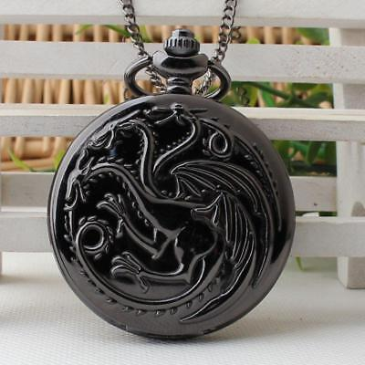 Game of Thrones House Targaryen Pocket Watch with Necklace
