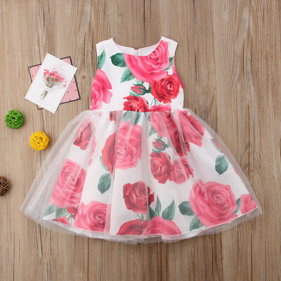 Toddler Kids Baby Girls Floral Princess Party Dress Sundress Summer Clothes UK