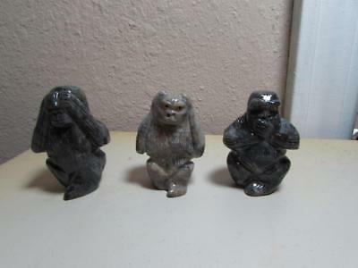 "Monkeys, ""See, Hear & Speak No Evil"", Set of 3 Hand carved marble from Andes"