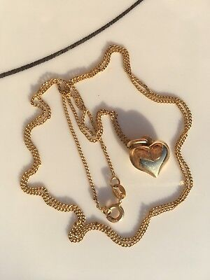 """Vintage 22"""" 14KT 585 Italy Yellow Gold Chain Necklace & 14k Gold Heart Pendant"""
