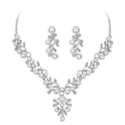 Crystal Pearl Leaf Necklace and Earrings Jewelry Set Fit with Wedding Dress