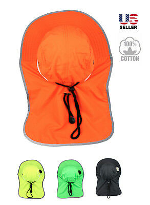 Neck Flap Boonie High Visibility Safety Reflective Waterproof Bucket Hat Cap