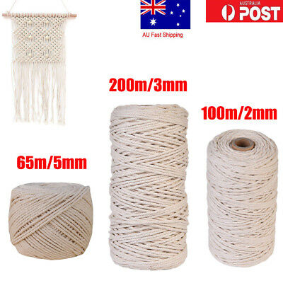 200m 100% Natural Cotton String Twisted Cord Beige Craft Macrame Artisan 2-5mm