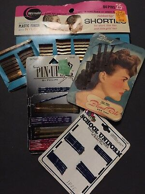 VINTAGE LOT OF 5 CARDS PATTI BOBBY PINS Blend-Rite Pin Ups Wil-hold  All Sizes