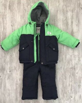 Carters Snow Suit Trousers And Jacket Baby Boy 24 months Green And Navy EUC