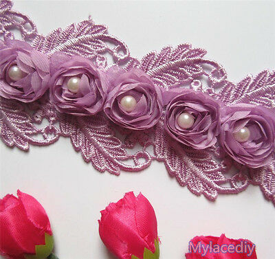 Wholesale 13yard/lot 7.5cm Purple Embroidered Lace Edge Trim Ribbon Sewing Craft