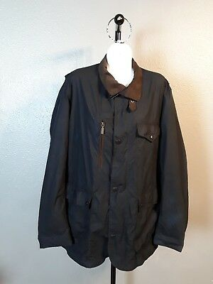 BARBOUR Beaufort Waxed Cotton Jacket Navy W/ Plaid Lining Sz X Large