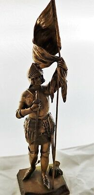 Large ANTIQUE 19th C FRENCH BRONZE Statue JOAN D ARC Warrior Sculpture by ALONZO