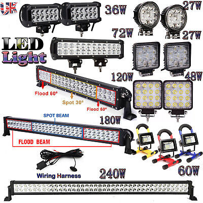 LED Work Light Bar Spot Flood Roof Lights Driving Lamp Offroad Car SUV ATV Truck