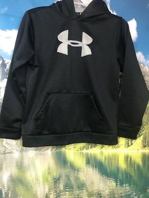 Boy's Under Armour Hoodie Sweatshirt Black Gray Youth Large B1