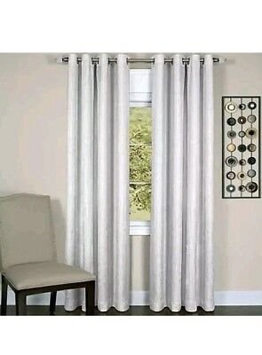 "Taylor Lined Grommet Curtain Panel 50"" x 84"" (White Crushed Solid Pattern)"