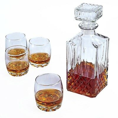 Square Glass Whiskey Decanter Bottle with 4 x 200ml Glasses Gift Set