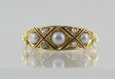 18ct Yellow Gold Victorian Pearl and Diamond Dress Ring