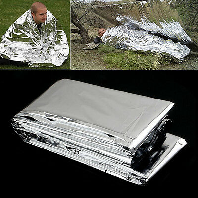 1x Outdoor Emergency Solar Blanket Survival Safety Insulating Mylar Thermal bs