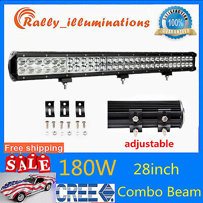"7D Tri-Row 28""inch 396W CREE LED Light Bar Spot&Flood 4X4WD Offroad PK 180W 32"""