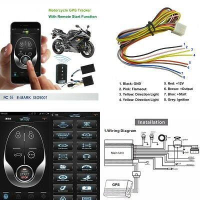 Motorcycle GSM GPS Tracker+One Way Remote Engine Start Keyless Entry SystemAlarm