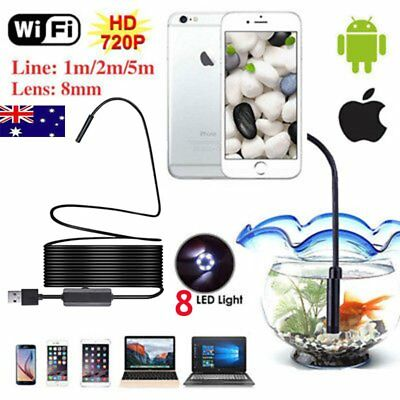 8MM HD 1200P Waterproof WIFI Endoscope Inspection Camera for iPhone Android PCgg
