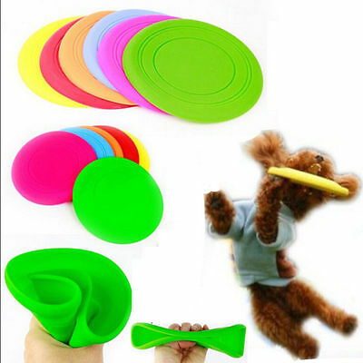1xSilicone Pet Dog Flying Saucer Disc  Toy for  Exercise Training Tool bs