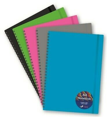 Plastic Cover Stationery A4 Project Notebook TwinWire Bound 5 Colour Index Tabs