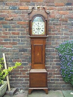 8 Day Oak and Mahaogany Longcase Clock Painted Dial J Trist Torquay