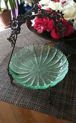 Antique Victorian Silver Plate Basket with Vaseline Glass Bowl