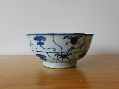 c.17th - Rare Antique Chinese Kangxi Blue and White Porcelain Bowl