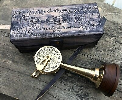 Maritime Solid Brass Telegraph With Leather Box Nautical Lover Gift