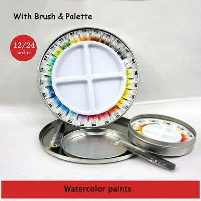 12/24 Colors Solid Watercolor Drawing Painting Paint Art Set Craft With Brush