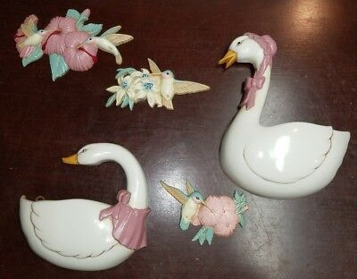 Lot of 5 BURWOOD PRODUCTS Goose Duck Wall Pockets Plaque & birds Hangings